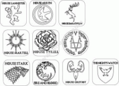 Game Of Thrones Coasters Red Cutting Line Free DXF File