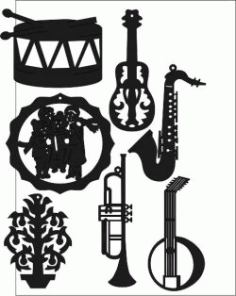 Music Instrument Sticker Free DXF File