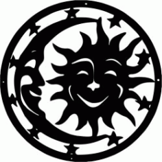Symbol Drawing Moon And Sun Free DXF File