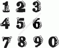 Number With Heart Free DXF File