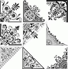 Set Of Corner Decoration Free DXF File