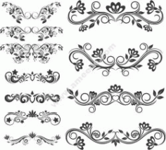 Swirl Decoration Set Free DXF File