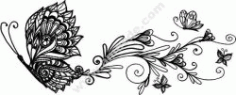 Wall Decor Floral Butterfly Free DXF File