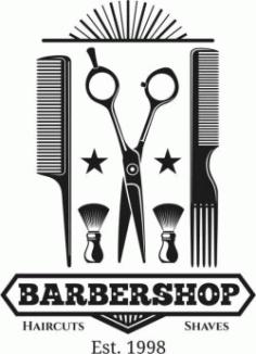 Barber Shop Logo 1998 Free CDR Vectors Art