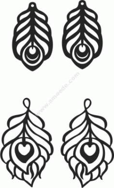 Feather Shaped Earrings Free CDR Vectors Art