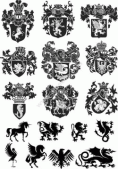 Heraldic Design Lions And Shield Free CDR Vectors Art