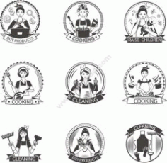 Housewife Label Set Free CDR Vectors Art