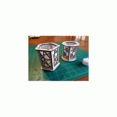 Laser Cut Candle Holder Lantern Lines Free DXF File