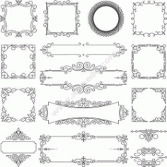 Linear Frame Set Free CDR Vectors Art