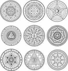 Occult Esoteric Symbols Free CDR Vectors Art