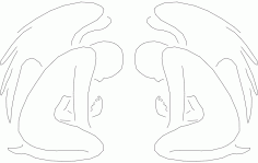 Angel line Art 25 Free DXF File