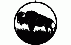 Buffalo In Circle Free DXF File