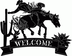 Cowboy Welcome Sign Free DXF File