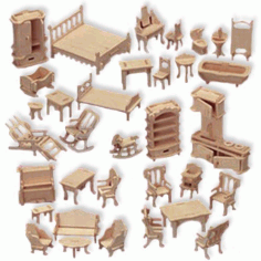 Doll House Furniture Free DXF File