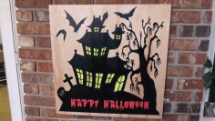 Halloween Spooky House Sign Free DXF File