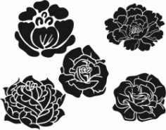 Rose Pattern And Peony Download For Laser Engraving Machines Free CDR Vectors Art