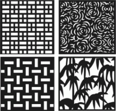 Roses Bamboo Decorative Motifs Square Download For Laser Cut Free CDR Vectors Art