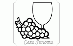 Coaster Grapes And Glass Free DXF File