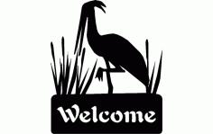 Crane Bird Free DXF File