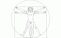 Davinci Vitruvian Lineart Free DXF File