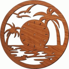 Seagull Shaped Wall Clock Flying In The Sea For Laser Cut Plasma Free CDR Vectors Art