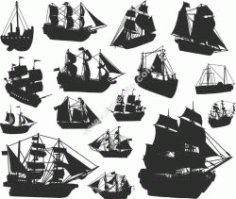 Ship Silhouette Free CDR Vectors Art