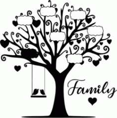The Tree Shows The Name Of Family Members Download For Laser Cut Plasma Free CDR Vectors Art
