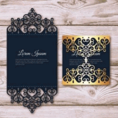 Elegant Card With Laser Cut And Gold Detail For Laser Free DXF File