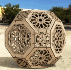Hexagon Sphere Lamp For Laser Cut Cnc Free DXF File