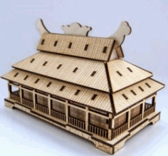 Japanese Style House Model For Laser Cut Cnc Free DXF File