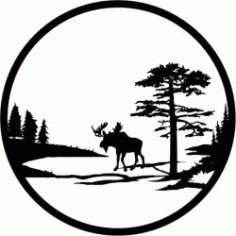 Lonely Elk For Laser Cut Plasma Free DXF File