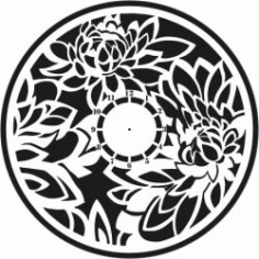 Lotus Clock Wall For Laser Cut Plasma Free DXF File