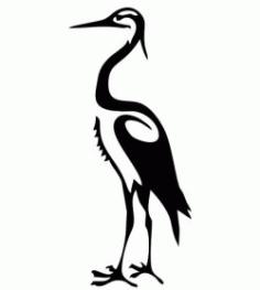 White Egret Image For Laser Cut Plasma Free DXF File