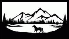 Wild Horses In The Forest For Laser Cut Plasma Free DXF File