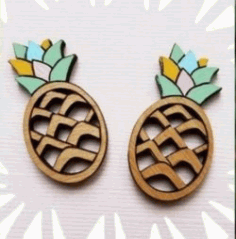 Earrings Shaped Pineapple For Laser Cut Free DXF File