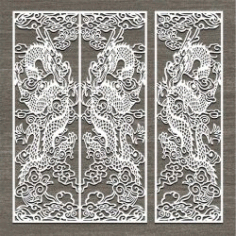 Screen Style Dragon Oriental For Laser Cut Cnc Free DXF File