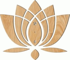 The Lotus Shaped Wall Clock For Laser Cut Cnc Free DXF File