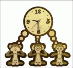 The Wall Clock Shows Three Monkeys For Laser Cut Cnc Free DXF File