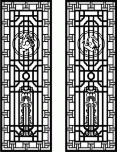 Two Doors Of Dragon And Phoenix For Laser Cut Cnc Free DXF File
