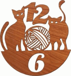 Wall Clock Featuring Two Cats For Laser Cut Plasma Free DXF File