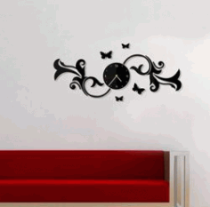 Wall Clock With Butterflies On A Branch For Laser Cut Cnc Free DXF File