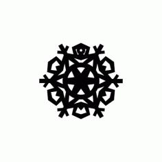 Snowflake Design Round Free DXF File
