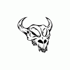 Horror Skull Head 009 Free DXF File
