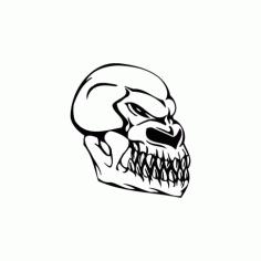 Horror Skull Head 004 Free DXF File