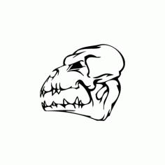 Horror Skull Head 003 Free DXF File