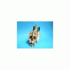 Skull 3d Plywood Pen Holder Free DXF File
