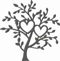 Art Tree And Two Hearts For Laser Cut Plasma Free CDR Vectors Art