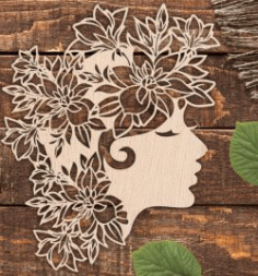 Beautiful Girl With Wreath For Laser Cut Plasma Decal Free CDR Vectors Art