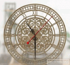 Clock Roman Pattern Wall For Laser Cut Cnc Free CDR Vectors Art