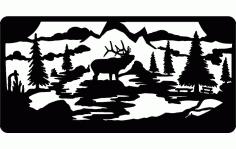 Alce No Campo Moose Free DXF File
